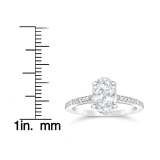 14k White Gold 1 1/10ct Oval Diamond Vintage Engagement Ring Solitaire Single Accent Row Setting (H-I, I1-I2)
