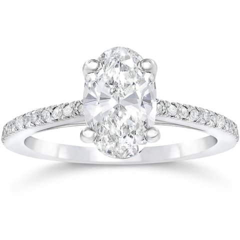 14k White Gold 1 1/10ct Oval Diamond Engagement Ring Solitaire Single Accent Row Setting Clarity Enhanced