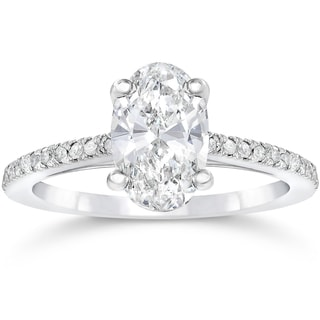 14k White Gold 1 1/10ct Oval Diamond Engagement Ring Solitaire Single Accent Row Setting