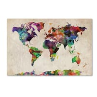 Michael Tompsett 'Urban Watercolor World Map' Canvas Wall Art