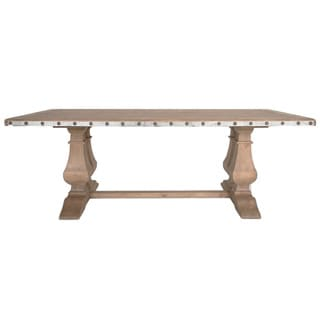 Leslie Distressed Pine Wood Double-pedestal Dining Table