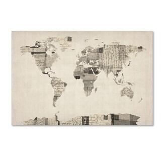 Michael Tompsett 'Vintage Postcards World Map' Canvas Wall Art