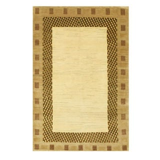 EORC Ivory Wool Hand-knotted Gabbeh Rug (3'11 x 5'10)