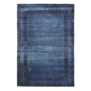 EORC Blue Wool Blue Hand-knotted Gabbeh Rug (4'1 x 5'11)