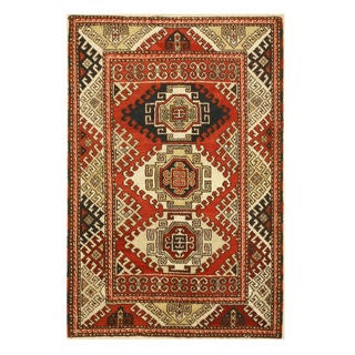 Hand-knotted Wool Red Traditional Geometric Kazak Rug (4'1 x 6'1)