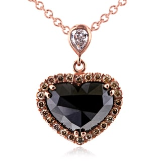 Annello 18k Rose Gold 1 7/8ct Heart Shape Black Champagne and White Diamond Necklace (H, VS2)