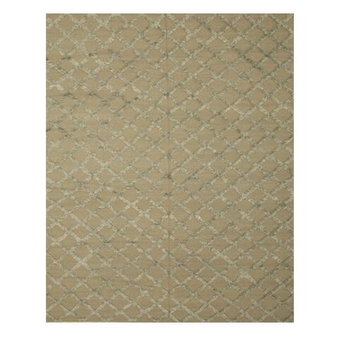 Handwoven Wool & Viscose Camel Transitional Trellis Marakesh Trellis Rug - 6' x 9'