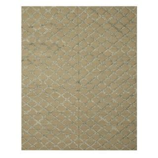 Handwoven Wool & Viscose Camel Transitional Trellis Marakesh Trellis Rug (6' x 9')