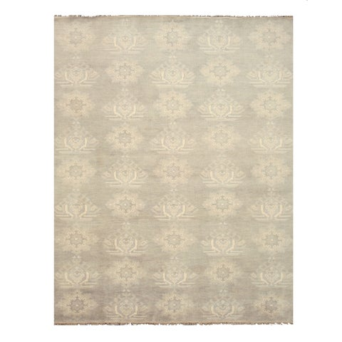 Hand-knotted Wool Gray Traditional Oriental Mono Rug (5' x 8') - 5' x 8'