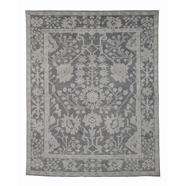 Hand-knotted Wool Gray Traditional Oriental Monochrome Oushak Rug (12' x 15')