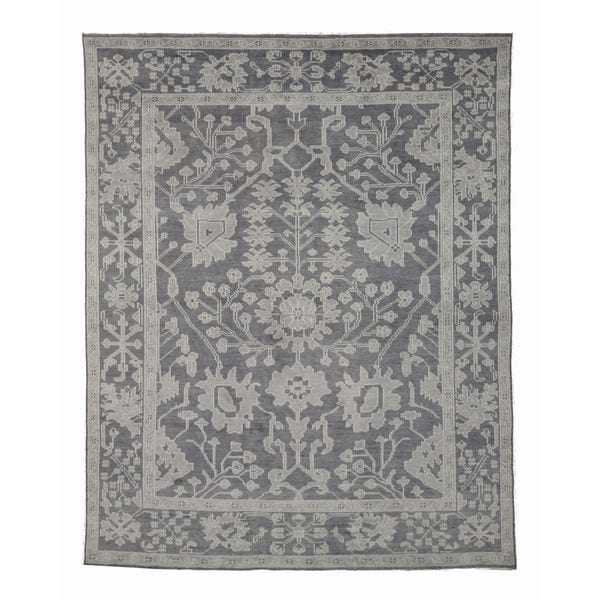 Hand-knotted Wool Gray Traditional Oriental Monochrome Oushak Rug - 12' x 15'