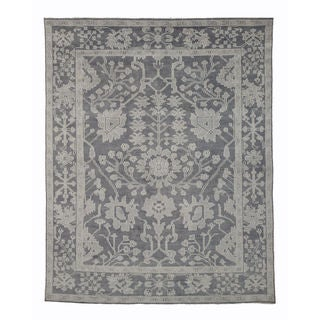 EORC Grey Wool Hand-knotted Monochrome Oushak Rug (12' x 15')