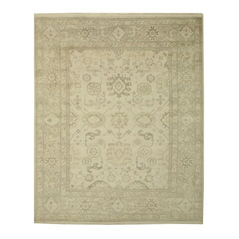 Hand-knotted Wool Ivory Traditional Oriental Monochrome Oushak Rug - 5' x 8'