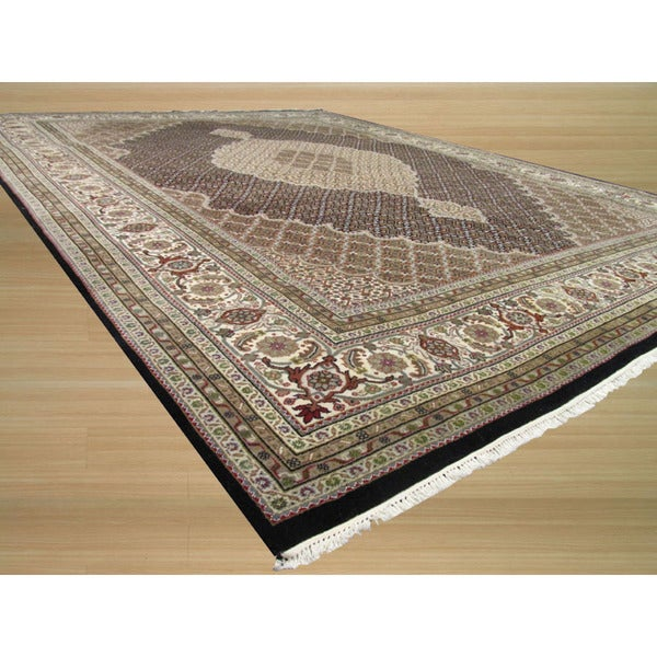 Shop Persian Oriental New Zealand Wool Area Rug: Shop Hand-knotted New Zealand Wool Black Traditional