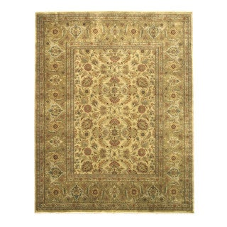 Hand-knotted New Zealand Wool Gold Traditional Oriental Tabriz Rug (12' x 15')