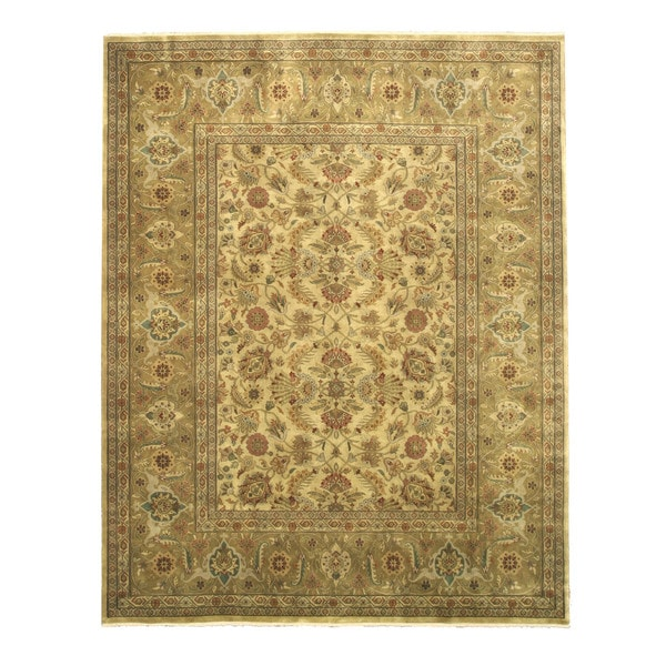 Hand Knotted Persian Tabriz Wool Area Rug Ebth: Shop Hand-knotted New Zealand Wool Gold Traditional