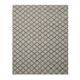 Handwoven Wool & Viscose Silver Transitional Trellis Marakesh Trellis Rug - 10' x 14'