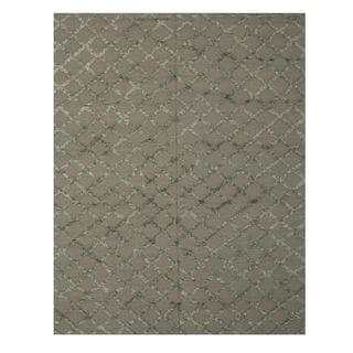 Handwoven Wool & Viscose Gray Transitional Trellis Marakesh Trellis Rug (10' x 14')