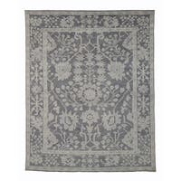 Hand-knotted Wool Gray Traditional Oriental Monochrome Oushak Rug - 9' x 12'