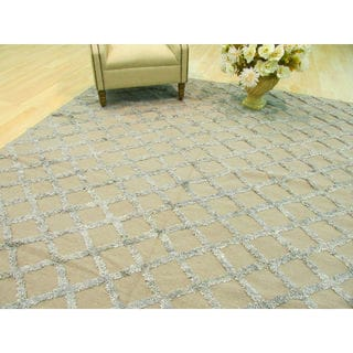 Handwoven Wool & Viscose Camel Transitional Trellis Marakesh Trellis Rug (9' x 12')