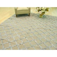Handwoven Wool & Viscose Camel Transitional Trellis Marakesh Trellis Rug - 9' x 12'