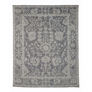 EORC Oushak Grey Wool Hand-knotted Monochrome Rug (8' x 10')