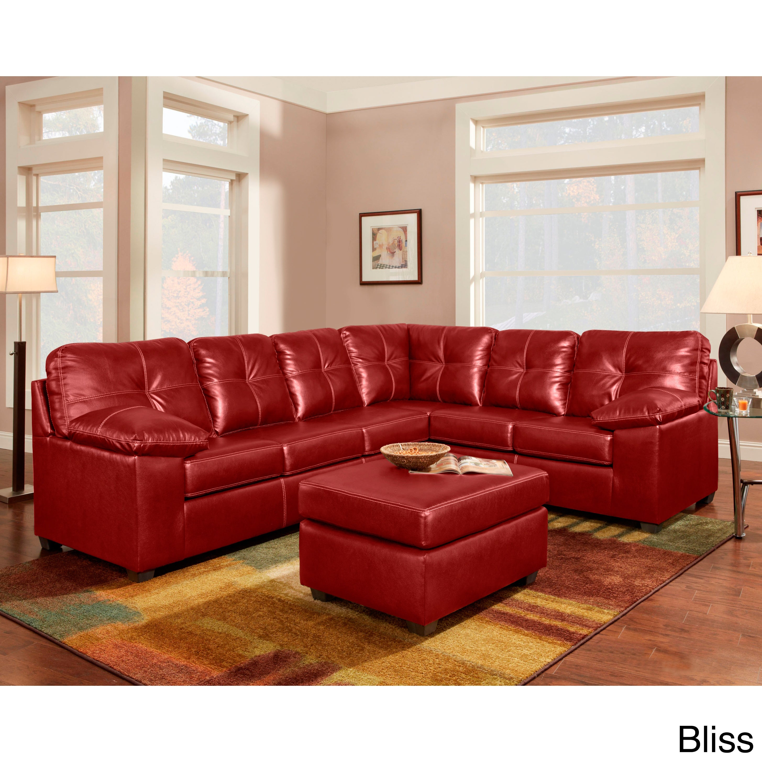 Sofa Trendz Red/Brown Bonded Leather Sectional (Red)