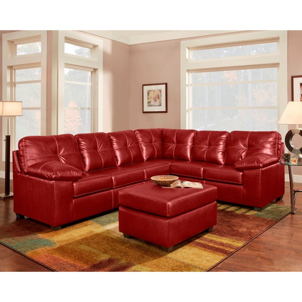 Sofa trendz red brown bonded leather sectional free for Red and brown sectional sofa