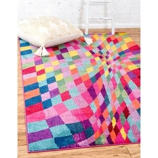 Barcelona Multicolor/Burgundy Polypropylene Rug (3'2 x 5'2)