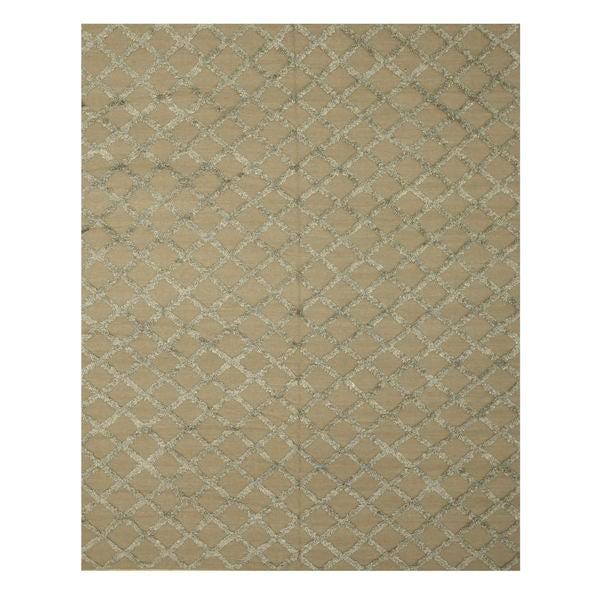 Handwoven Wool & Viscose Camel Transitional Trellis Marakesh Trellis Rug - 10' x 14'