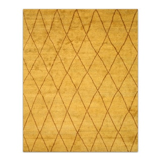 Hand-knotted Wool Gold Transitional Trellis Trellis Moroccan Rug (10' x 14')