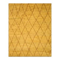 Hand-knotted Wool Gold Transitional Trellis Trellis Moroccan Rug (10' x 14') - 10' x 14'