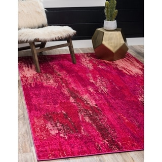 Barcelona Pink/Burgundy Polypropylene Abstract Rug (4' 11 x 8' )