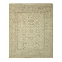 Hand-knotted Wool Ivory Traditional Oriental Monochrome Oushak Rug - 10' x 14'