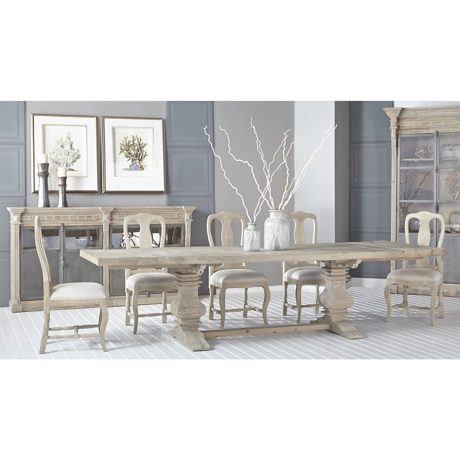 Lester Distressed Recycled European Pine Double-pedestal Dining Table - Grey