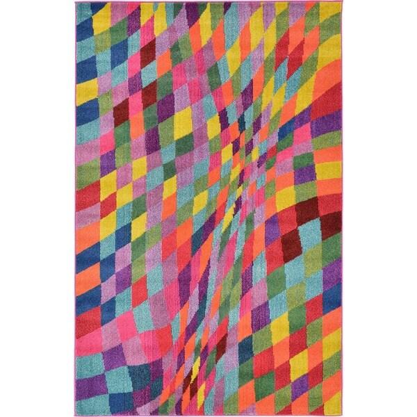Barcelona Multicolor/Green Polypropylene Rug (4'11 x 8')