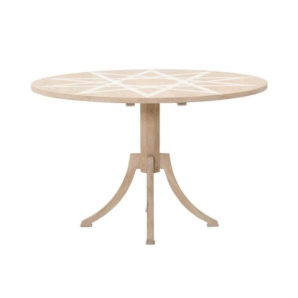 Bradley Beige White Wood 48 Inch Round Dining Table Free Shipping