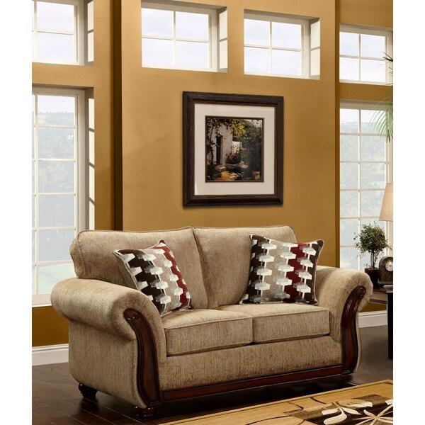 Shop Sofa Trendz Mocha/ Beige Wood/ Microfiber Loveseat ...