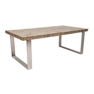 Lonnie Cappuccino Reclaimed Wood and Stainless Steel Dining Table
