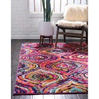 Barcelona Burgundy/Multicolor Polypropylene Rug (5'1 x 8')