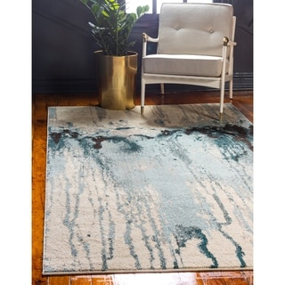 Barcelona Blue/Off-White Polypropylene Rug (5' 1 x 8')