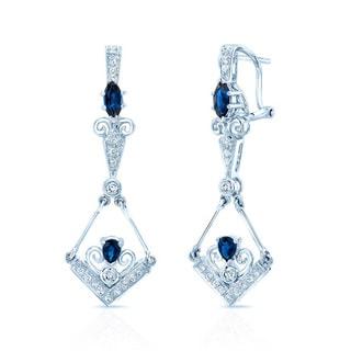 Estie G. 18k White Gold Blue Sapphire 0.25-carat TDW H-I/VS1-VS2 Diamond Drop Earrings