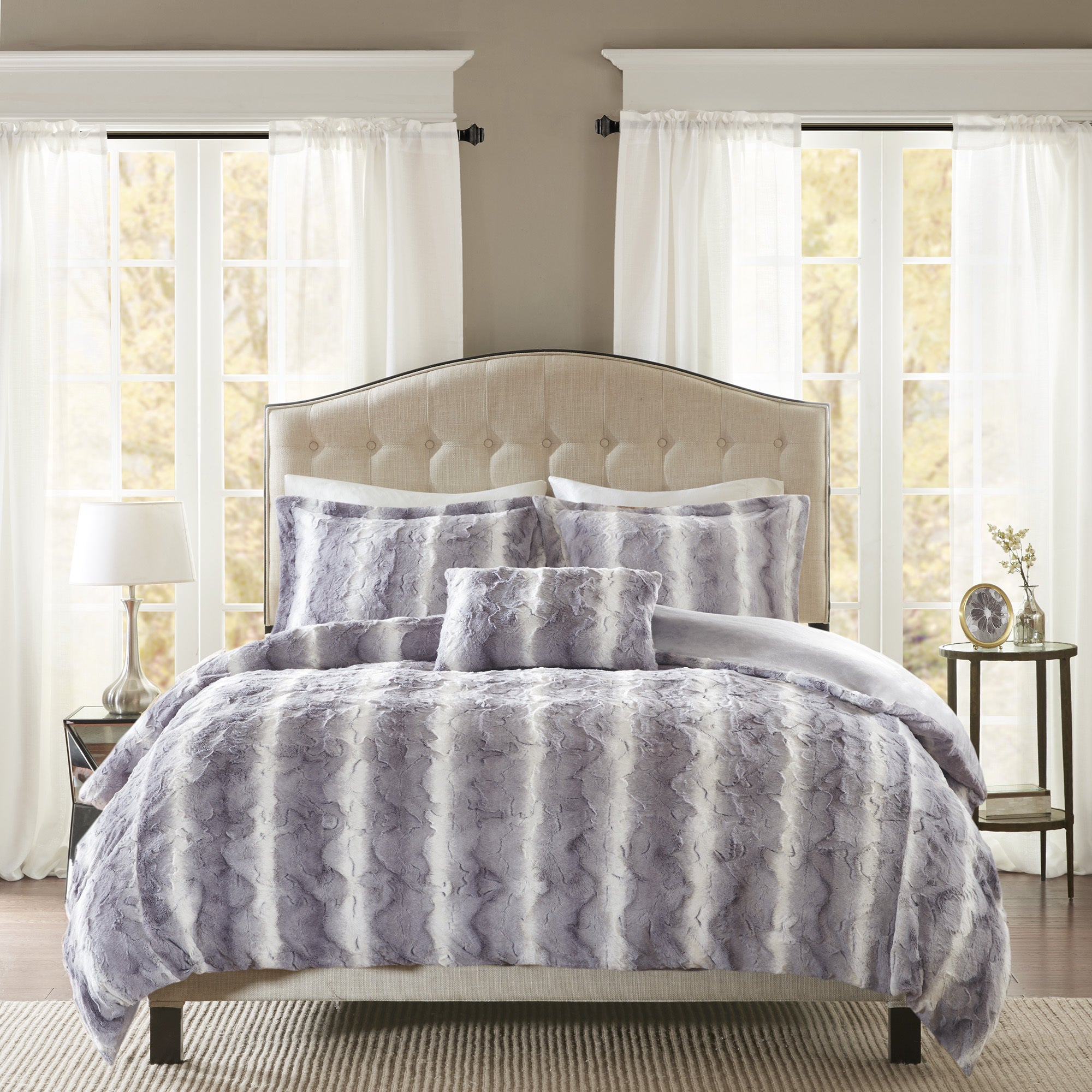 Shop Madison Park Marselle Faux Fur 4 Piece Duvet Cover