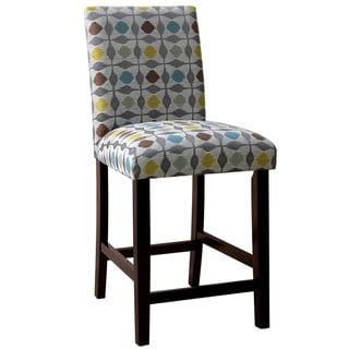 Skyline Furniture Espresso/Pouf Graphite Polyester/Polyurethane/Rubberwood Uptown Counter Stool
