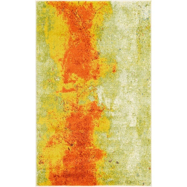 Barcelona Yellow/Green Polypropylene Rug (3' 2 x 5' 2)