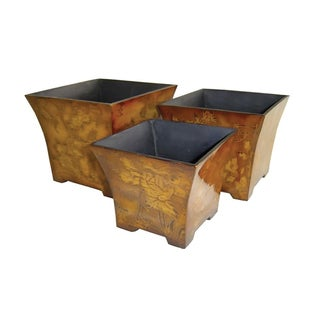 Cheungs Flower Print Wooden Indoor/Outdoor Gardening Planter(Set of 3)