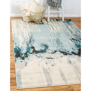 Barcelona Blue/Off-white Rug (3'2 x 5'2)