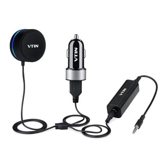 Bluetooth 4.0 Hands-free Car Kit Wireless with Music Receiver, Rotatable Audio Adjustment and Dual Port USB Charger