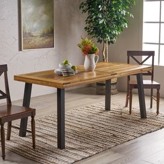Sparta Acacia Wood Rectangle Dining Table By Christopher Knight Home Brown