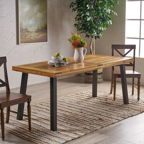 Sparta Acacia Wood Rectangle Dining Table by Christopher Knight Home - Brown